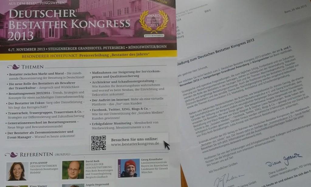 Einladung zum Deutschen Bestatter Kongress 2013
